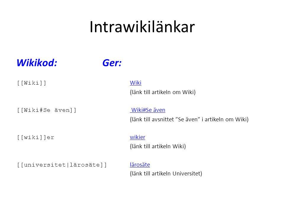 Intrawikilänkar Wikikod: Ger: [[Wiki]] Wiki